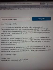 Antwort von VW