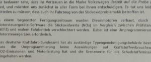 Brief von VW