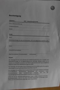 Bestätigung von VW im Wortlaut